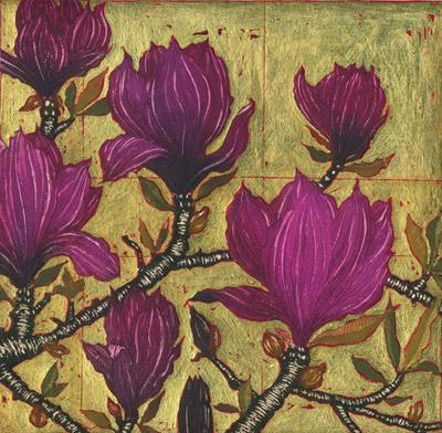 Dark Magnolia with Gold Leaf