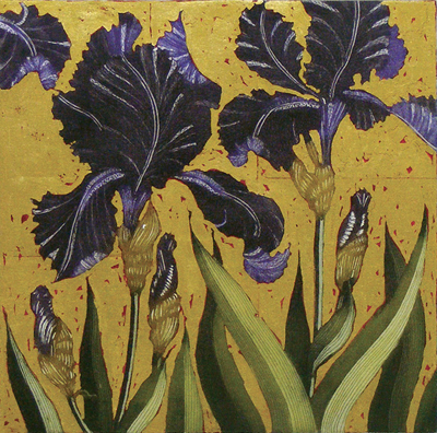 Dark Irises with Gold Leaf