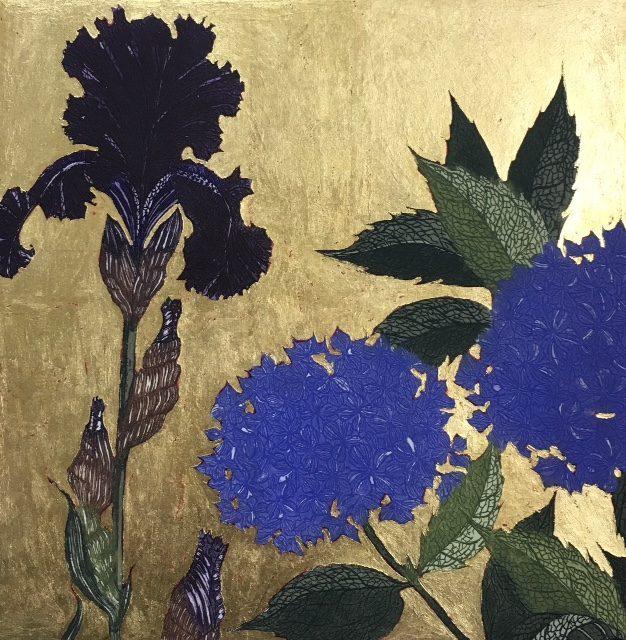 Dark Iris and Blue Hydrangea