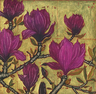 Dark Magnolia with Gold Leaf
