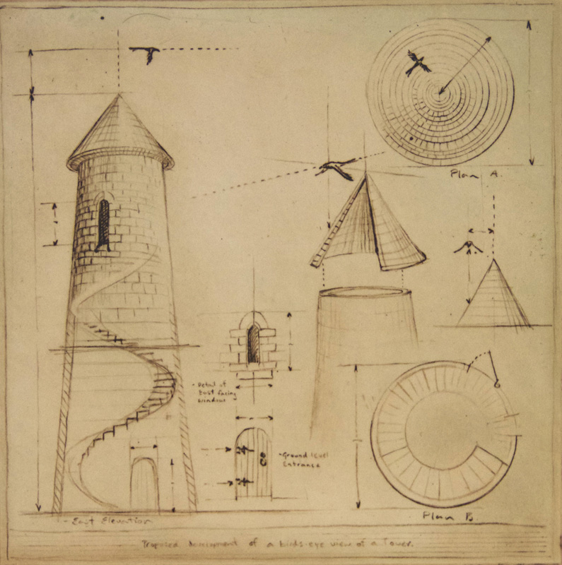 An Architectural Plan of a Bird's Eye View of a Tower
