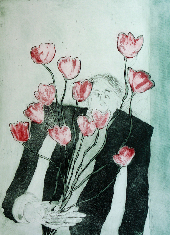 Man on Doorsteps with Flowers