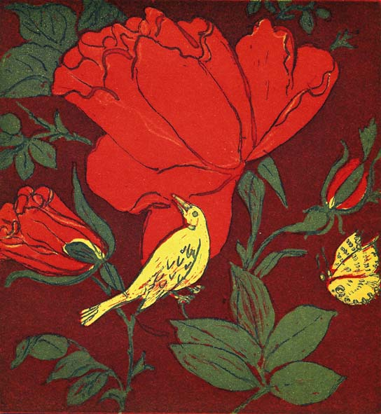 Nightingale in the Rose Garden
