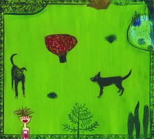Dogs in a Garden