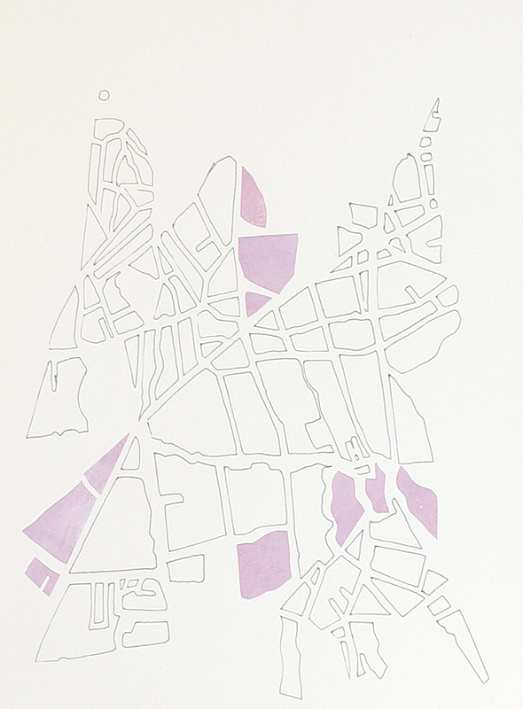 Susan Leen - Pink Collage Map - SOLD