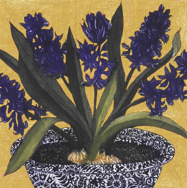 Dark Hyacinths with Gold Leaf