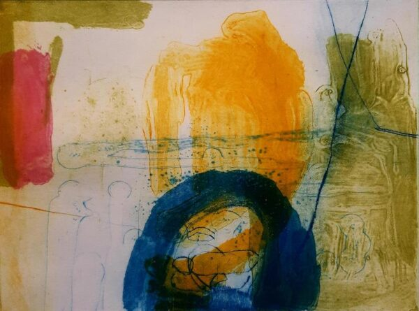 Mary A Fitzgerald - Blue Arc on Yellow