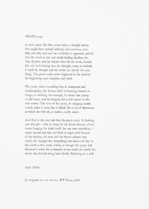 Colm Tóibín - Yeats 2015