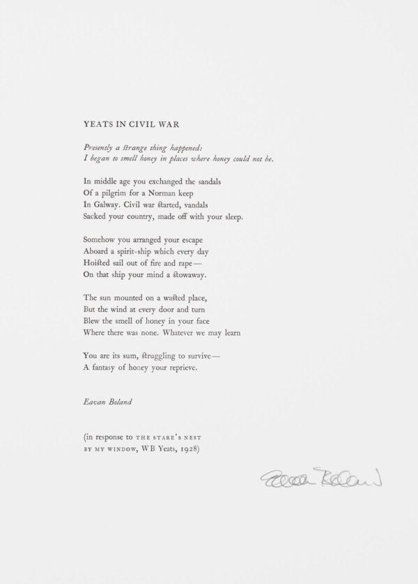 Eavan Boland - Yeats in Civil War